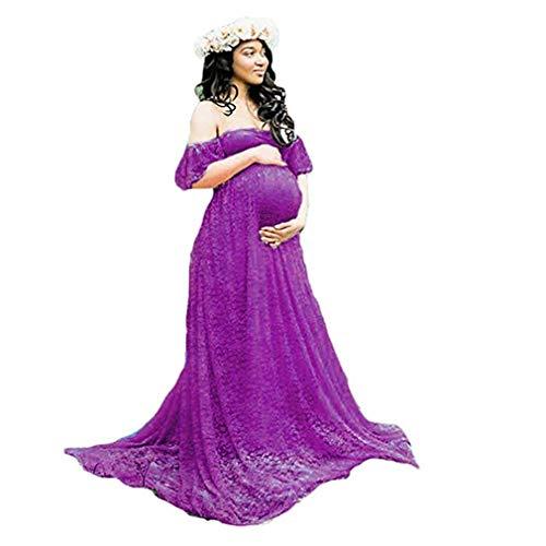 Frauen Schwangerschaftskleid, Damen Spitzenkleid Schulterfreies Kleid Fotografie Kleidung Maxikleid Off Schultern Mutterschaft Langarm Maxi Kleid