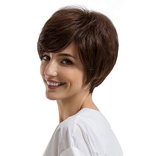Malloom Frauen Mittlere kurze Haare Perücke Schwarze Perücke, Natürliche Frauen Kurze Textur BrownHair Perücken Leichte Perücke Menschliches Haar Weibliche Perücken