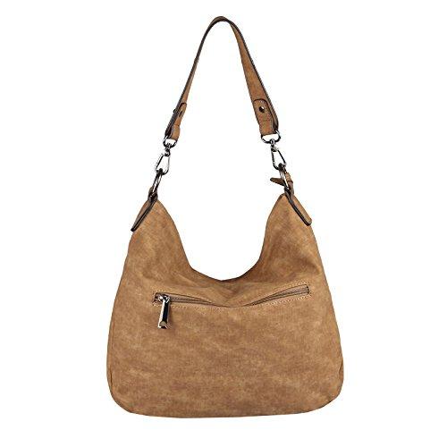 OBC DAMEN TASCHE SHOPPER Hobo-Bag Henkeltasche Schultertasche Umhängetasche Handtasche CrossOver CrossBag Damentasche Reisetasche Beuteltasche (Dunkelblau 35x29x10 cm) Cognac 35x29x10 cm