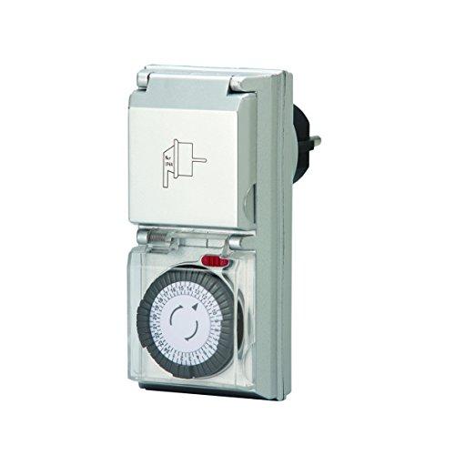 Unitec 48435 Tageszeitschaltuhr analog innen mit integriertem Kinderschutz, Silber, IP: 44,