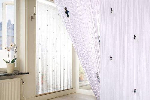 Rideau à Fil Blanc et Perles Résistants aux Bestioles et aux Mouches Draperies Pour Fenêtre Porte Maison Salon 100 x 200 cm