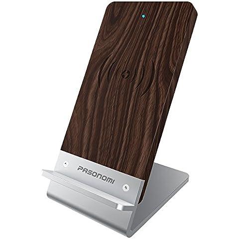 Pasonomi Caricabatteria Wireless di Qi Standard con Tre Bobine per Samsung Galaxy S7 / S7 Edge / S6 Edge Plus, Note 5, Nexus 5/6/7, Nokia Lumia 920, LG Optimus Vu2e, HTC Droid DNA, Tutti i Dispositivi Certificati da Qi