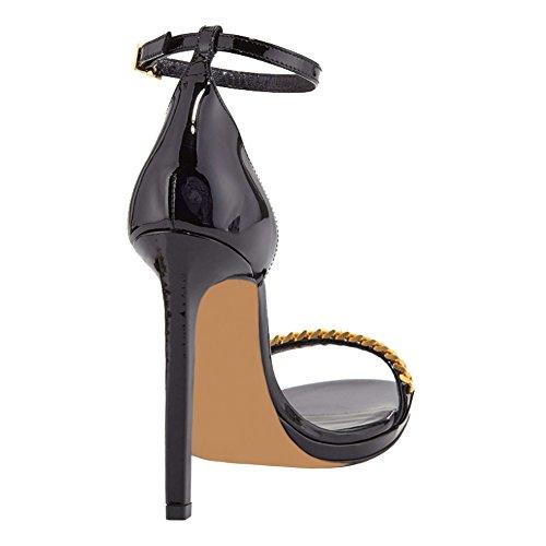 EKS Damen Elegante Sandaletten offene Zehe Metall Kette High Heels Sandalen Damenschuhe EU 35-46 Schwarz-Lackleder