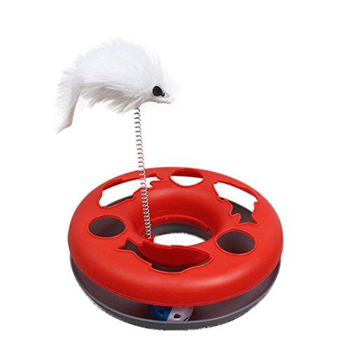Funny Toy Layered Einzelplatte Frühling Maus Plattenspieler Interaktive Pet Supply Specific Play Lustige Aktivität Spielzeug für Haustier Hunde Crazy Amusement Disk Multiple Farbe (Color : Red)