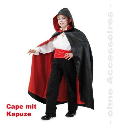 Cape mit Kapuze Vampir Dracula Umhang schwarz/rot 1tlg. Gr. (Bella Kostüme Twilight Halloween)