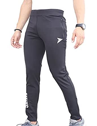 209ee7da78 Fitinc Men's Polyester and Lycra Track Pants with 2 Side Zipper Pockets and  Logo