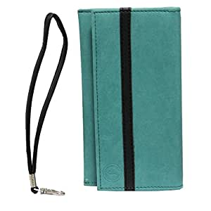 Jo Jo A5 Nillofer Leather Wallet Universal Pouch Cover Case For ZTE Q519T Light Blue Black