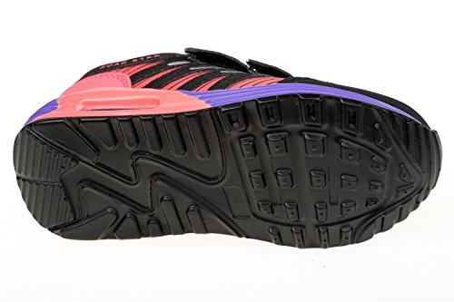 GIBRA® Enfants Chaussures de sport, avec fermeture velcro, noir/rose/violet, taille 25–35 Noir - Schwarz/Pink/Lila