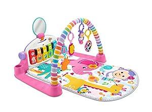 Fisher-Price-FWT25 Gimnasio Piano Pataditas Manta de Juego en inglés para bebé recién Nacido, Color Rosa (Mattel FWT25)