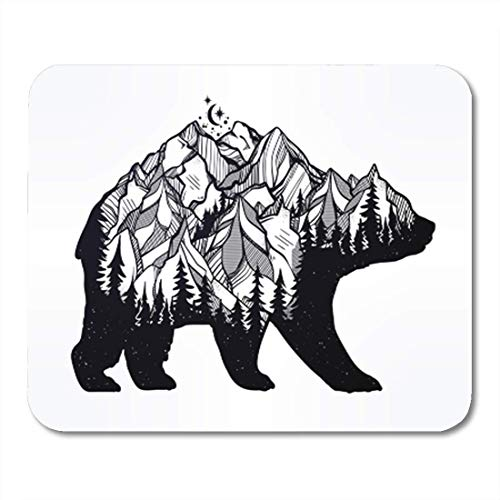 Gaming Mauspad Decorative Double Exposure Bear with Nature Pine Forest Rocky Mountain 11.8
