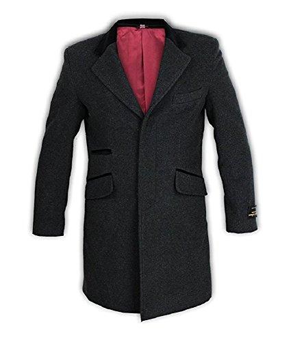Classic Design - Herren Männer Wolle & Kaschmir Mischung Samt Kragen Mantel - XL, Grau (Kaschmir-mischung Lange)