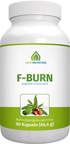 Green Nutrition | F-Burn | Hochdosiert - 90 Kapseln - 100% Natürlich (Guarana Fat Burner)