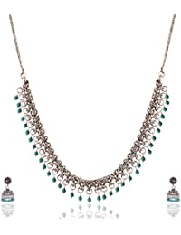 Ganapathy Gems Blue Metal Strand Necklace Set For Women (13276)
