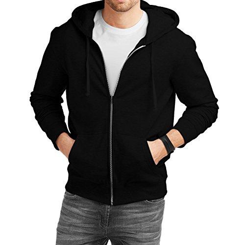 Fanideaz Men's Cotton Plain Zipper Hoodies For Men (Zipper Sweatshirt)_Black_L