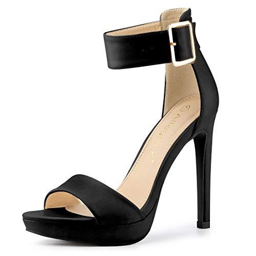 Allegra K Damen Peep Toe Buckle Stiletto High Heels Sandalen Schwarz 39 EU/Label Size 8.5 US -