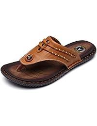 Gracosy Flip Flops, Unisex Zehentrenner Flache Hausschuhe Pantoletten Sommer Schuhe Slippers Weich Anti-Rutsch T-Strap Sandalen für Herren Damenr Braun 3 43