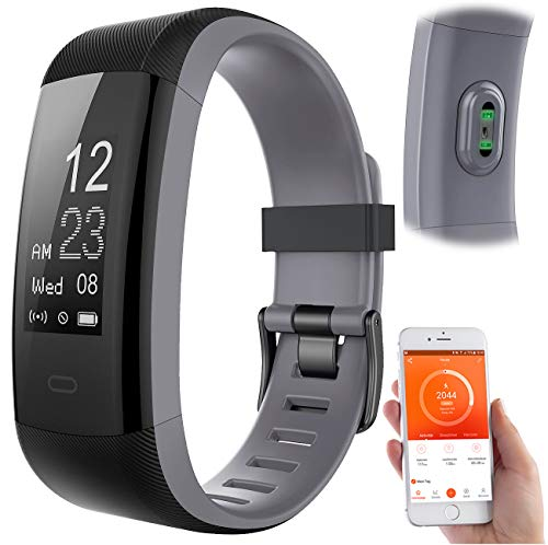 newgen medicals Schrittzähler: Premium-GPS-Fitness-Armband, XL-Touchdisplay, Puls, 14 Sportarten (Fitnessarmband mit Herzfrequenz)