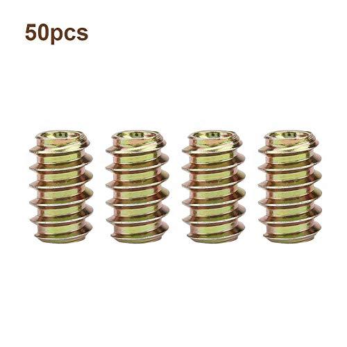 Möbel-Zylindermutter, 50 Stück M6 Eisen Innen- und Außenverzahnung Zylindermutter Sortiment Gewindebuchse(M6*15)