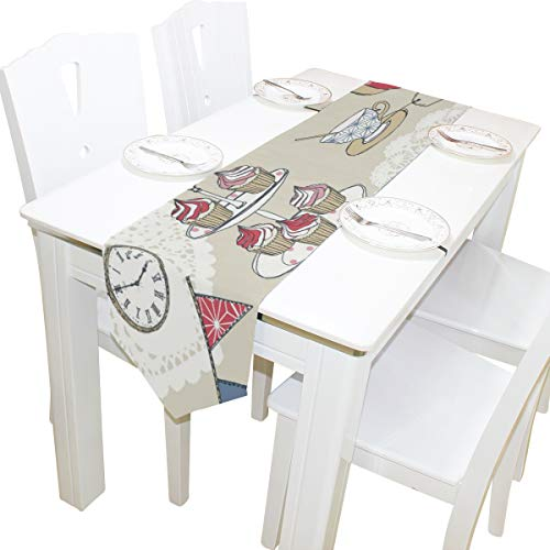 für Teeparty Alice im Wunderland für Zuhause, Dekoration, Couchtisch, 33 x 178 cm, Polyester, Polyester, Chic01, 13x70(in) ()