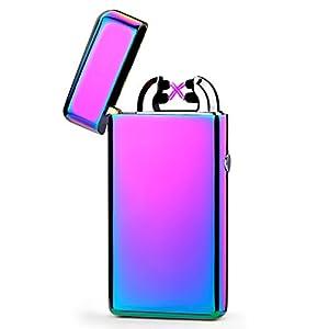 Emsmil USB Feuerzeug Mini Elektronisch Aufladbar Dual Arc Lichtbogen Zigarettenanzünder Winddicht Flammenlos Schwarz