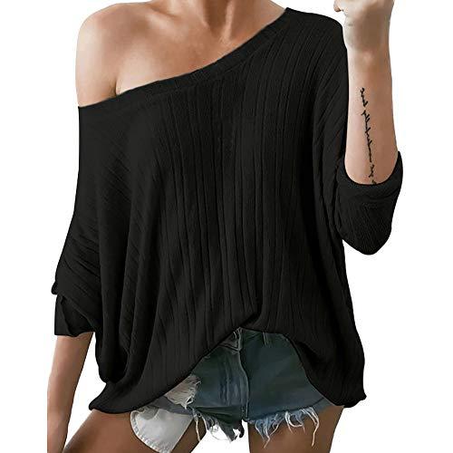 Preisvergleich Produktbild TianWlio Frauen Langarmshirt Bluse Hoodie Pullover Langarmshirt Kapuzenpullover Sweatshirt Herbst Winter Schulterfrei Langarm V-Ausschnitt Bluse Pullover Pullover Pullover Top