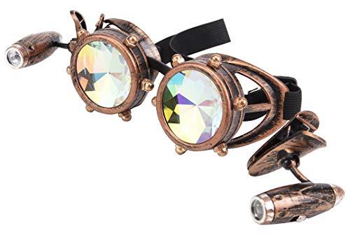 KOLCY Kaleidoskop Partybrille Schmuck Steampunk Brille Retro Rotkupfer Beule mit Licht Einstellbar Schutzbrille Sonnenbrille Accessoire