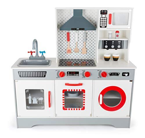 Small Foot 11081 Kinderküche Premium aus Holz, mit Integrierter Kaffeemaschine, Geschirrspülmaschine, Waschmaschine, Backofen, Spüle und Mikrowelle inkl. Küchenzubehör, die Spielküche fördert Das kindliche Rollenspiel Spielzeug, Mehrfarbig