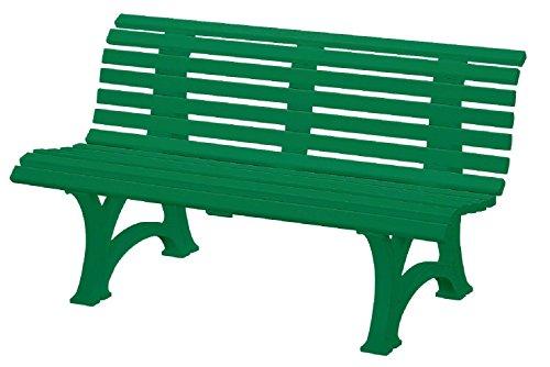 Preisvergleich Produktbild Sitzbank / Gartenbank 3er Design: Helgoland, Länge 150cm, grün (hochwertiger Kunststoff, Parkbank Made in Germany)