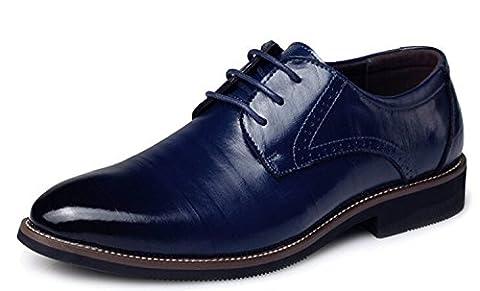 DADAWEN Homme Classique Commercial Leather Chaussure Bout Pointu-Bleu 45