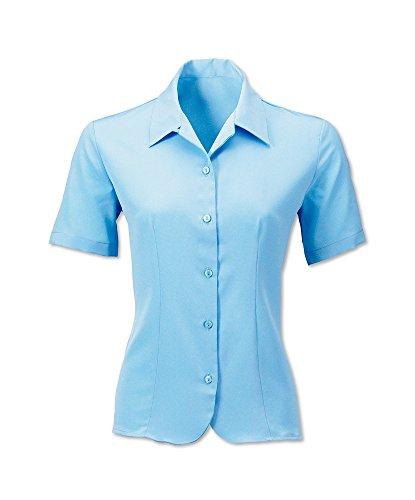 Alexandra stc-2035pb-14Damen Crepe de Chine Bluse, Uni, 100% Polyester, Größe: 14, hellblau (Crêpe Chine De Bluse)