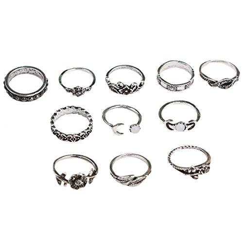 - 41EOalRU 2B0L - SODIAL(R) 11x Fashion Women's Boho Chic Moon Flowers Rose Jade Antique Midi Rings Set Jewelry Accessories Silver