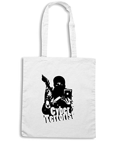 T-Shirtshock - Borsa Shopping TM0447 cyber terrorist Bianco