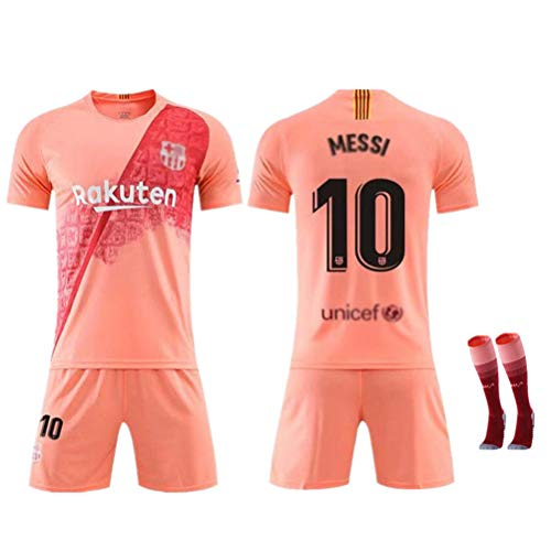 FRYP Barcelona Trikot 18-19 Barcelona Heimtrikot 10# Messi Kurzarmanzug Fußballuniform für Kinder-Pink-M