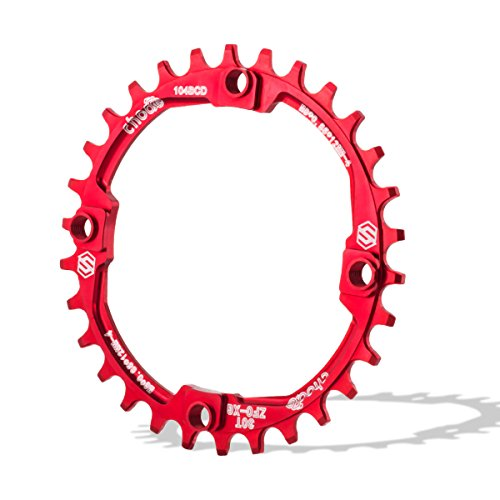 Chooee Plato de Aluminio con 30 Dientes para Bicicleta de montaña, con Distancia BCD de 104 mm, de Rojo