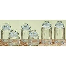 Tarros para conservar alimentos/ftalatos Juego de 6 vasos Vintage Jars de cristal con tapas