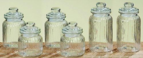 Melancholita Vorratsgläser/Bonbongläser 6er Set Vintage Jars aus Glas mit Deckeln