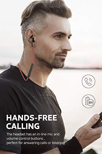 SoundPEATS Bluetooth Kopfhörer, APTX Technologie und Noise Cancellation CVC 6.0, Stereo-Sound Top-Qualität – Q12, rot - 6
