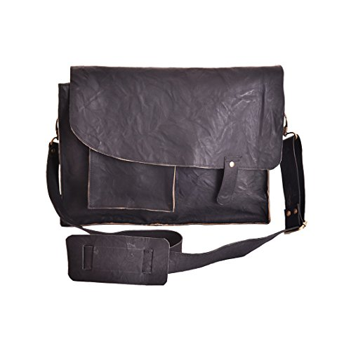 Craft Play Handicraft Black color Leather Laptop Bag
