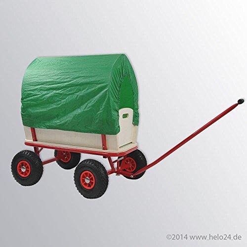 Bollerwagen mit 150 Kg Tragkraft aus extrem fester Stahlrohrkonstruktion pulverbeschichtet, verstärkte Ablagefläche, 4 Luftreifen