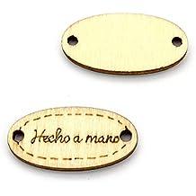 RUBY - Botones Etiqueta de Maderacon Mensaje Hecho a Mano (Modelo 1)