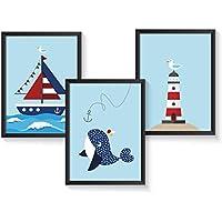 Poster maritim Kinderzimmer | A4 Kinderbilder | 3er Set | Kunstdruck Kinderzimmer | ohne Bilderrahmen
