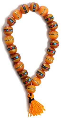 Hand-Mala - Armband aus Horn mit Steinen besetzt 10 mm amberfarben