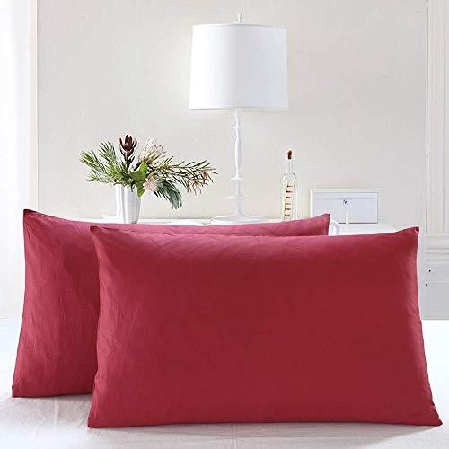 THAVASAM 2 Sets Kissenhülle Mikrofaser 2 Stück Standard 50x75 cm Kissenbezug Kissenhülle Kopfkissenbezug Bettkissenbezug Pillowcase Gemütlicher Hochwertiger Kissenbezug Hypoallergen (Rot B) -