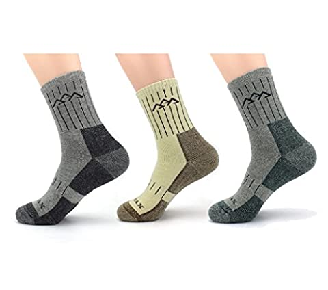 Waymoda 3 Pairs Unisex Winter Warm Hiking Socks, Thicken and Breathable, Coolmax and Cotton material, full fluffy inside, Absorb shock Cushion, No Blister, Outdoor Sports Running Trekking Walking Climbing Trainer Sox, 3 Colors of Set, Men Women Boys Girls Size UK 6-11/EUR 39-45