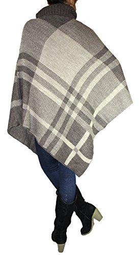 Poncho Cappotto Giacca A Maglia Poncho/Cape Pullover roll colletto per donna in motivo a quadri, S, M, L, XL Marrone