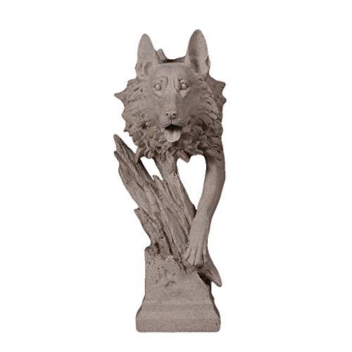 Wddwarmhome Harz Wolf Kopf Skulptur Wohnzimmer Weinschrank Tier Ornamente  Home Office Desktop Handwerk, 40   18   15 cm 72c774c04f
