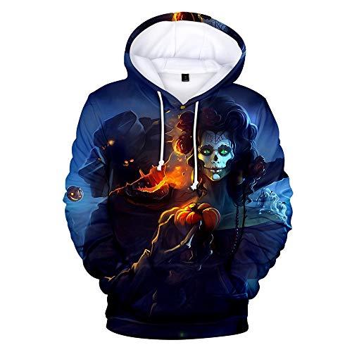 PPangUDing Sweatshirt Halloween Paar Kapuzenpullover Herren Hoodie Horror Skull 3D Pullover Langarm Damen Mantel Freizeit Baggy Kapuzenpulli Sport Sweatjacke Kapuze Sweater (M, Schwarz) -