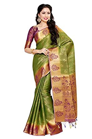 Mimosa Women's Art Silk Saree With Blouse Piece (4045-178-2D-Olv-Mej,Olive,Free Size)