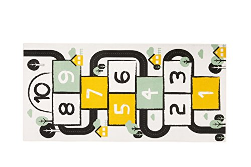 Aminata Kids Teppich Hopscotch Hüpfspiel Kinderzimmer Jungen Mädchen 95x200 cm * Made in Europe * rutschhemmend lärmhemmend* Kinderteppich Spiel Bewegung Zahlen lernen Spielteppich Spielunterlage