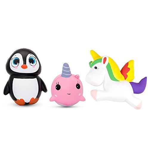 Specool 3pcs Slow Rising Squishies Unicorn Whale Squishies et Squishy Pingouin soulager le stress Jouets pour enfants et adultes